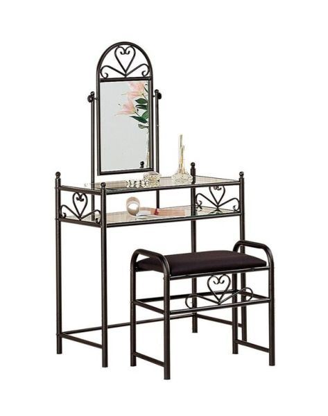 Two piece vanity set black 2432 coaster company afw for Coaster co of america furniture
