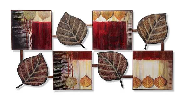 Metal Leaves And Wood Wall Decor