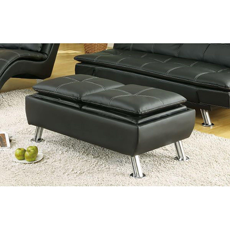 Black storage ottoman 300283 coaster company afw for Coaster co of america furniture