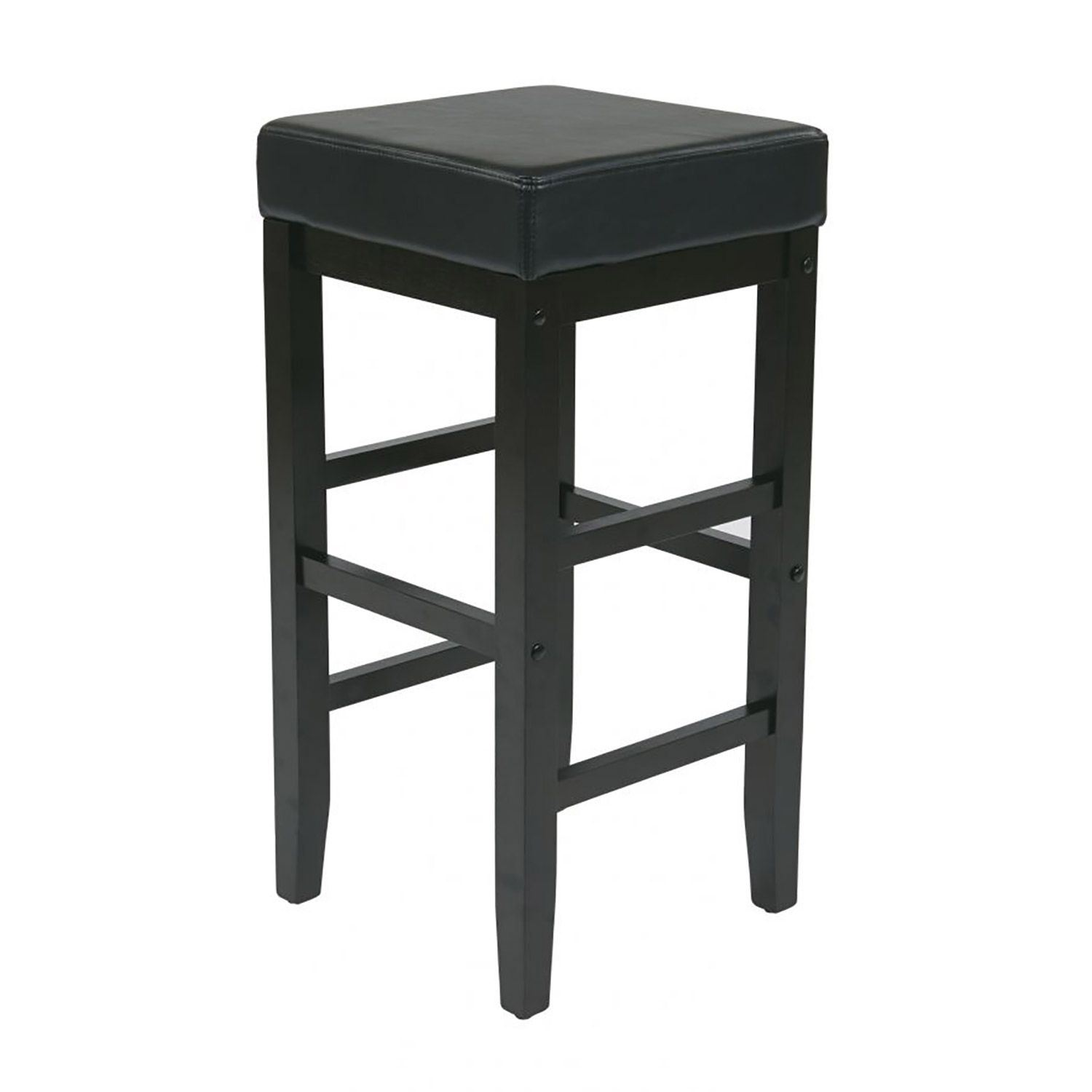 25in Square Black Faux Leather Barstool Es25vs3 Office