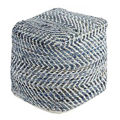 Picture of Blue Denim Cube Chevron Pouf *D