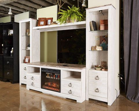 Willowton Tv Stand With Fireplace Ashley Furniture W267