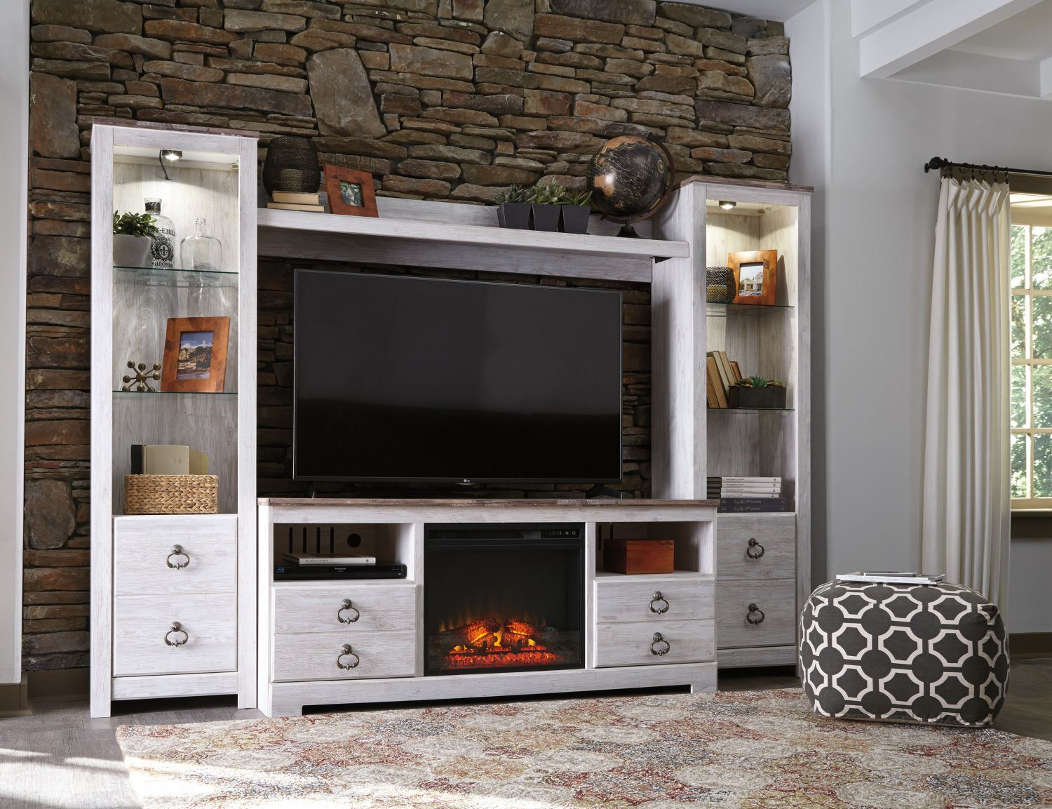 Willowton TV Stand With Fireplace | Ashley Furniture W267 ...