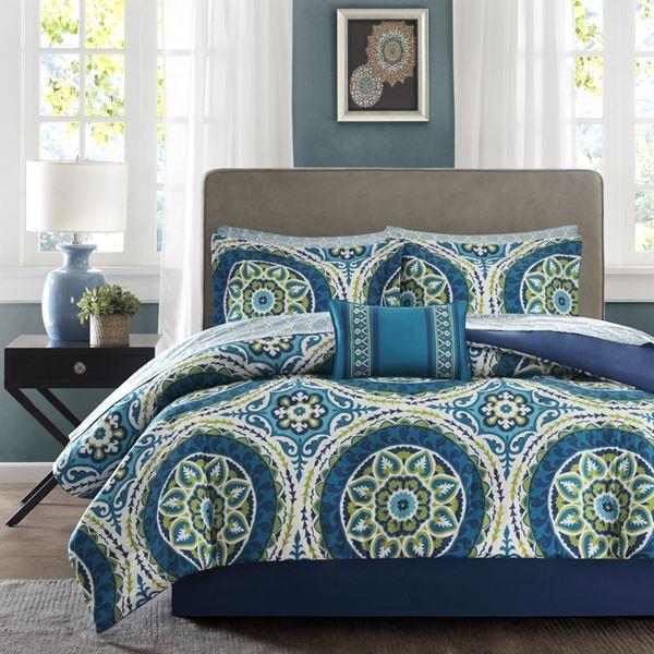 Queen Serenity Aqua Medallion Comforter Set Mpe10 057