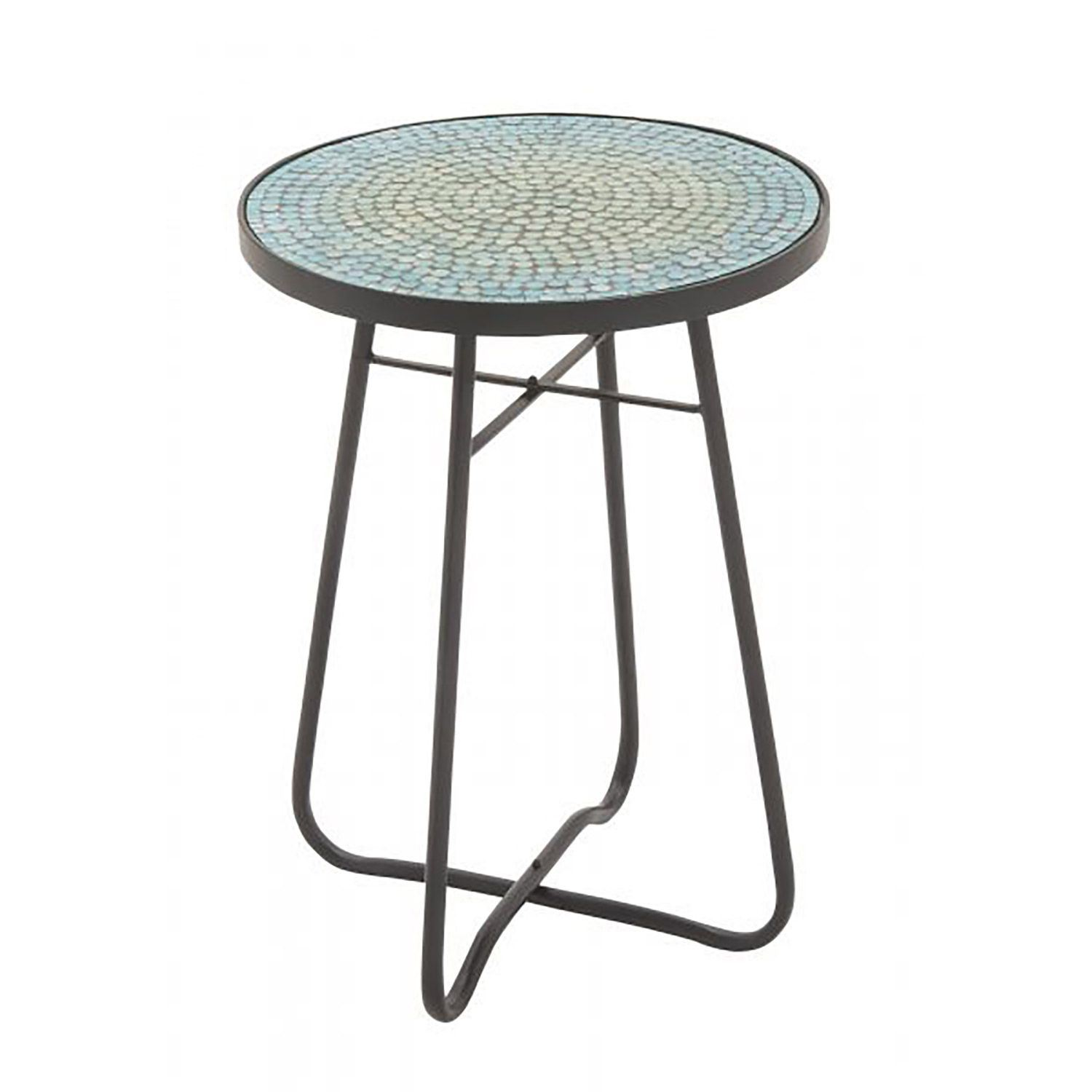 Torquoise Glass Round Accent Table 177 45626 Uma