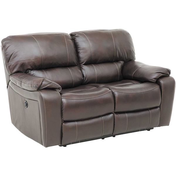Wade Brown Top Grain Leather Power Reclining Loveseat
