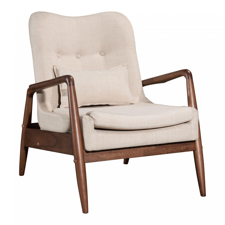 Bully Lounge Chair Ottoman Beige 100536 Zuo Modern
