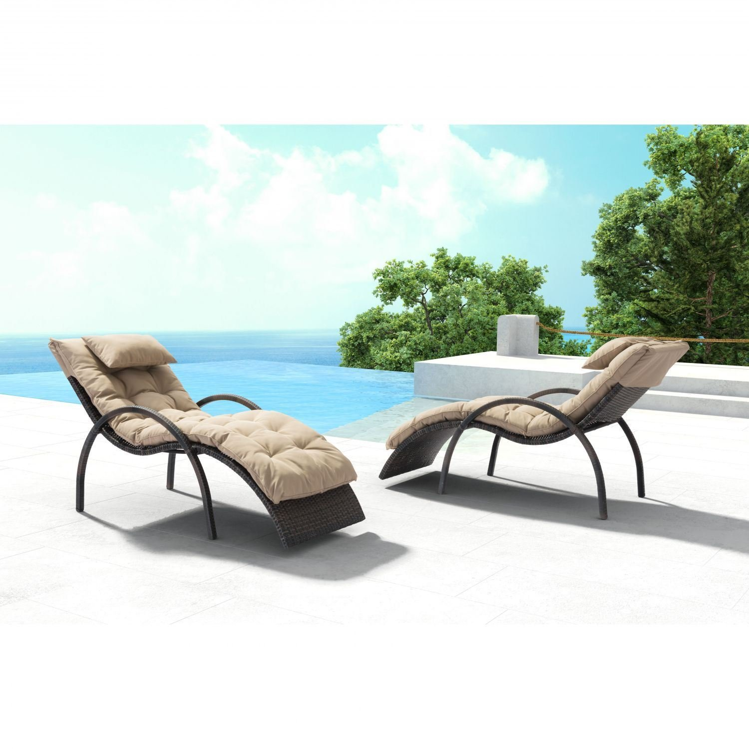 Eggertz beach chaise lounge brown beige 703841 zuo for Beach lounge chaise