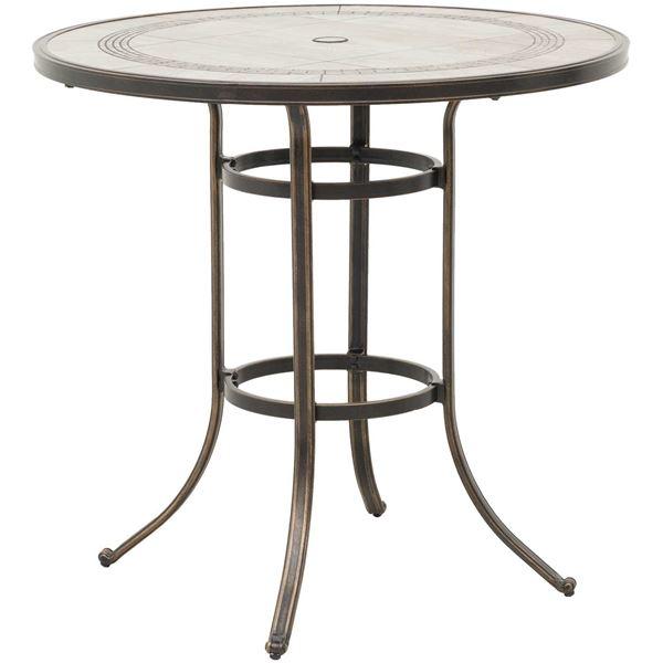 Barnwood Round Tile Top Patio Bar Table TRB T BARNWD - Barnwood bar table