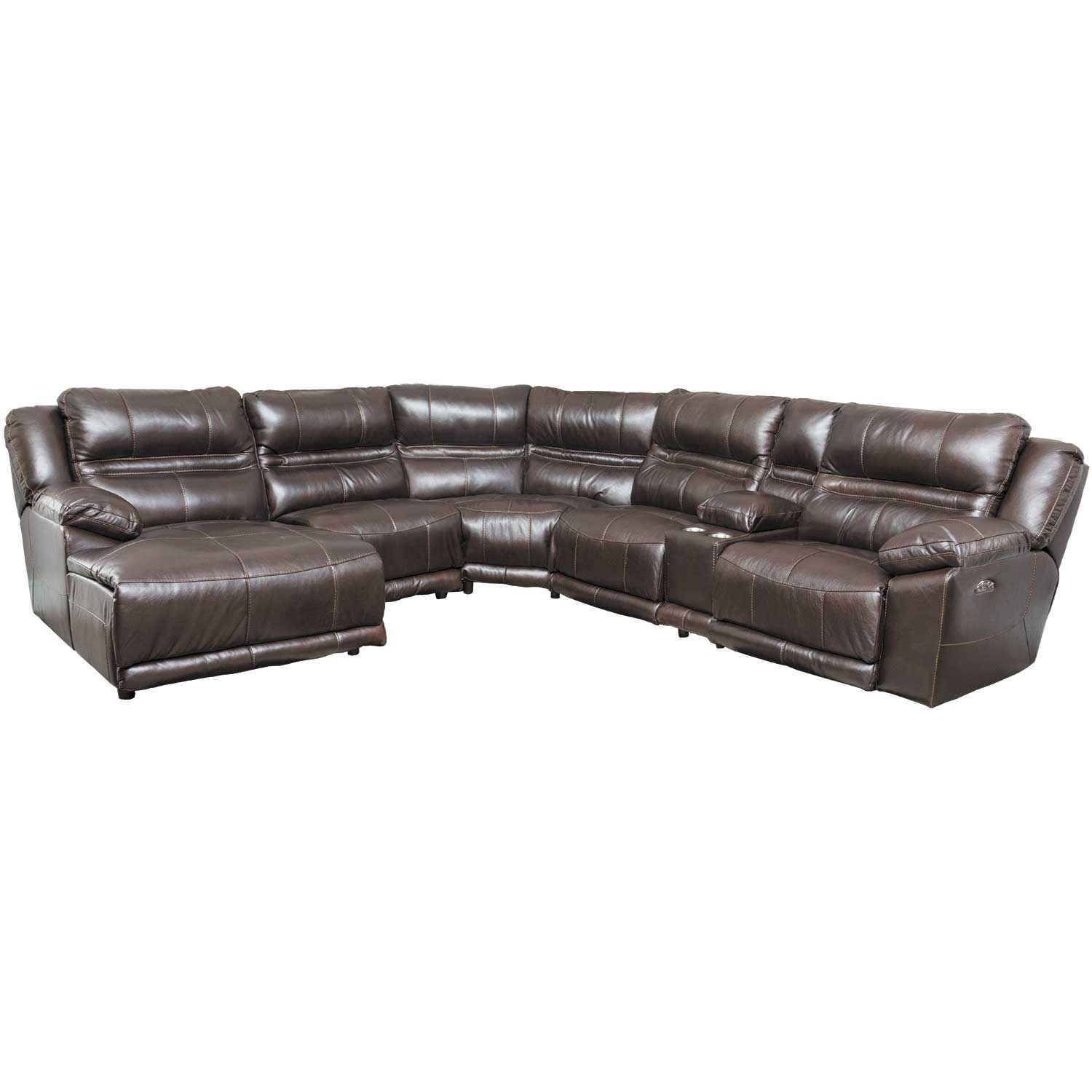 Bergamo 6 piece power reclining sectional with adjustable for Chaise and recliner