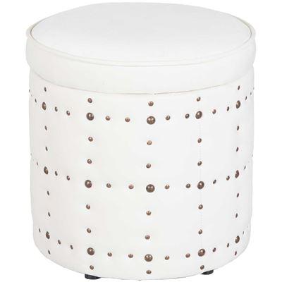 Picture of Allie Cream Round Storage Ottoman