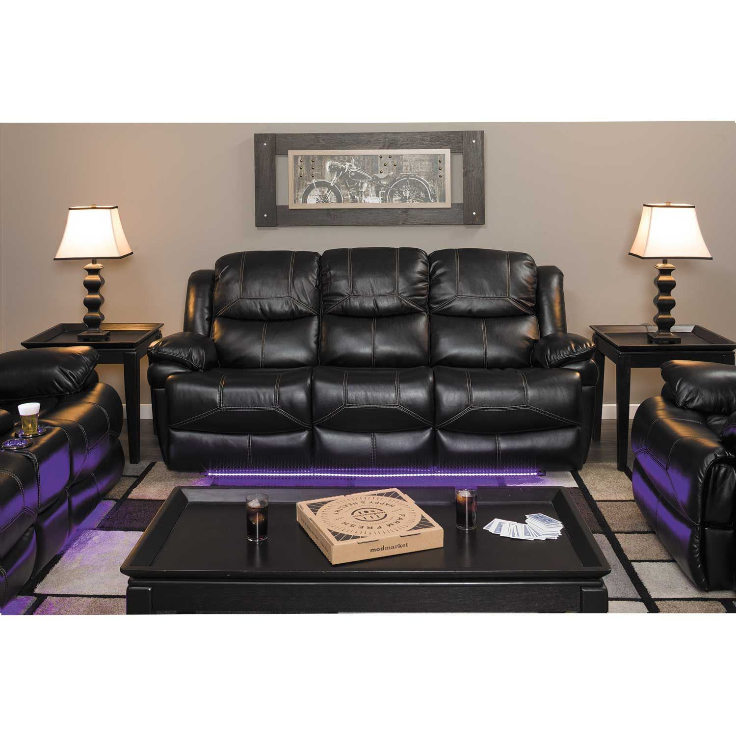 Flynn Power Reclining Console Loveseat With Lights 1a 2177