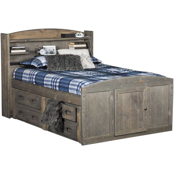 Cheyenne Driftwood Full Captain S Bed With Two Underbed