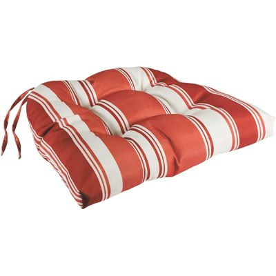 Picture of Single Seat Cushion in Terra Cotta with White Stripes