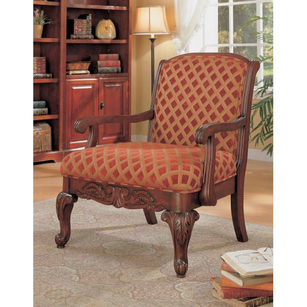 Cherry Red Country Accent Chair: Accent Chair, Red/Gold