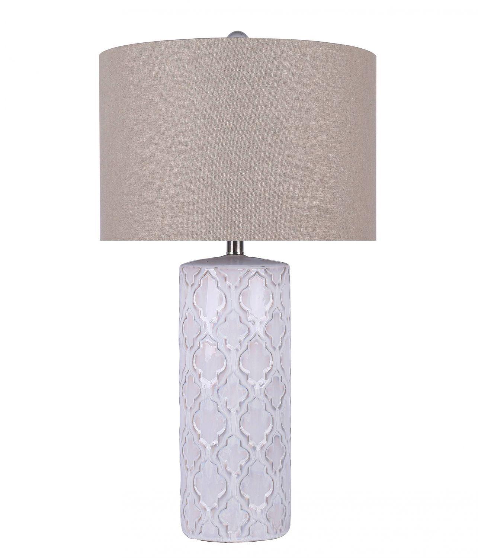 white ceramic design table lamp et90661 grandview gallery afw. Black Bedroom Furniture Sets. Home Design Ideas