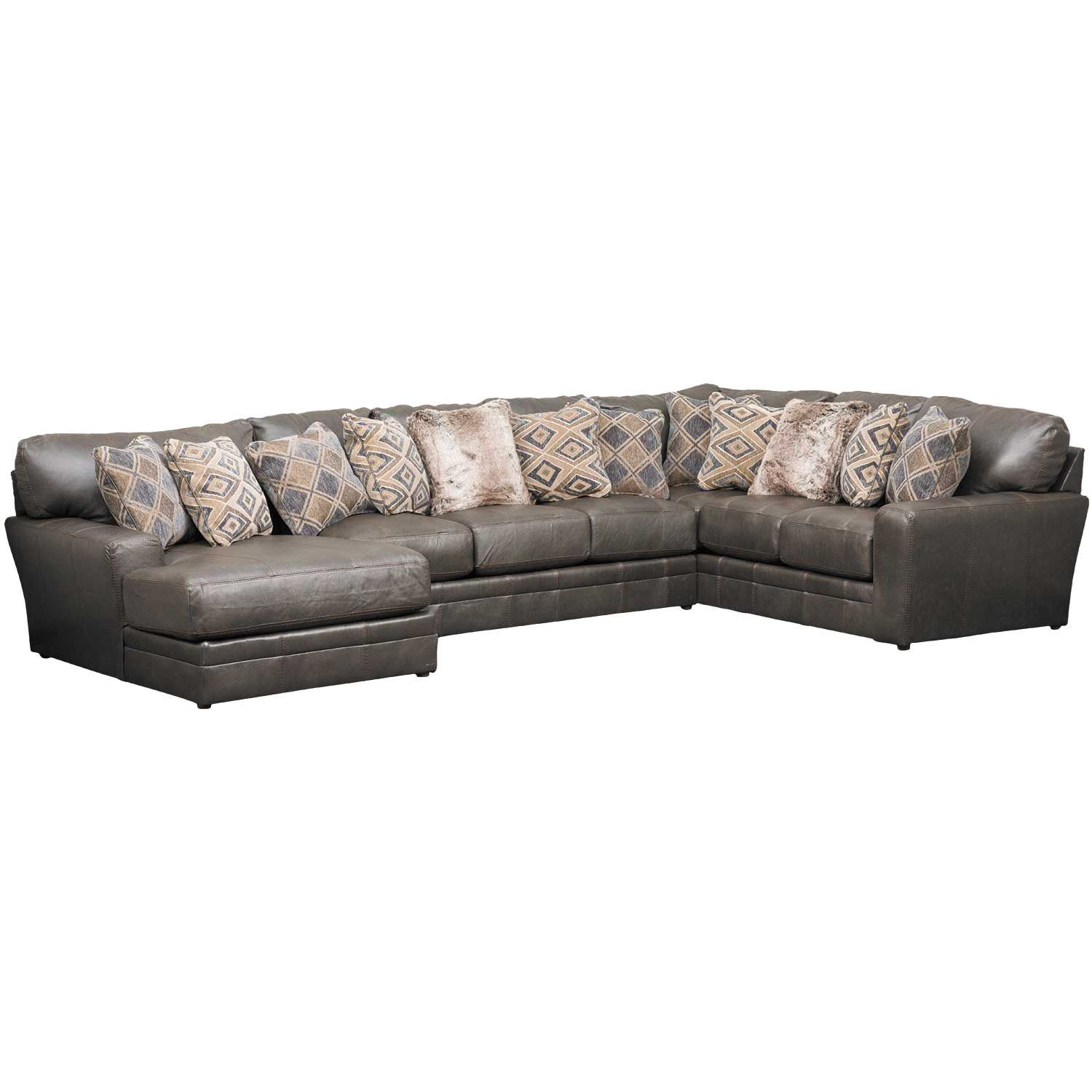 Denali 3 piece italian leather sectional with laf chaise for Chaise 3 pieds