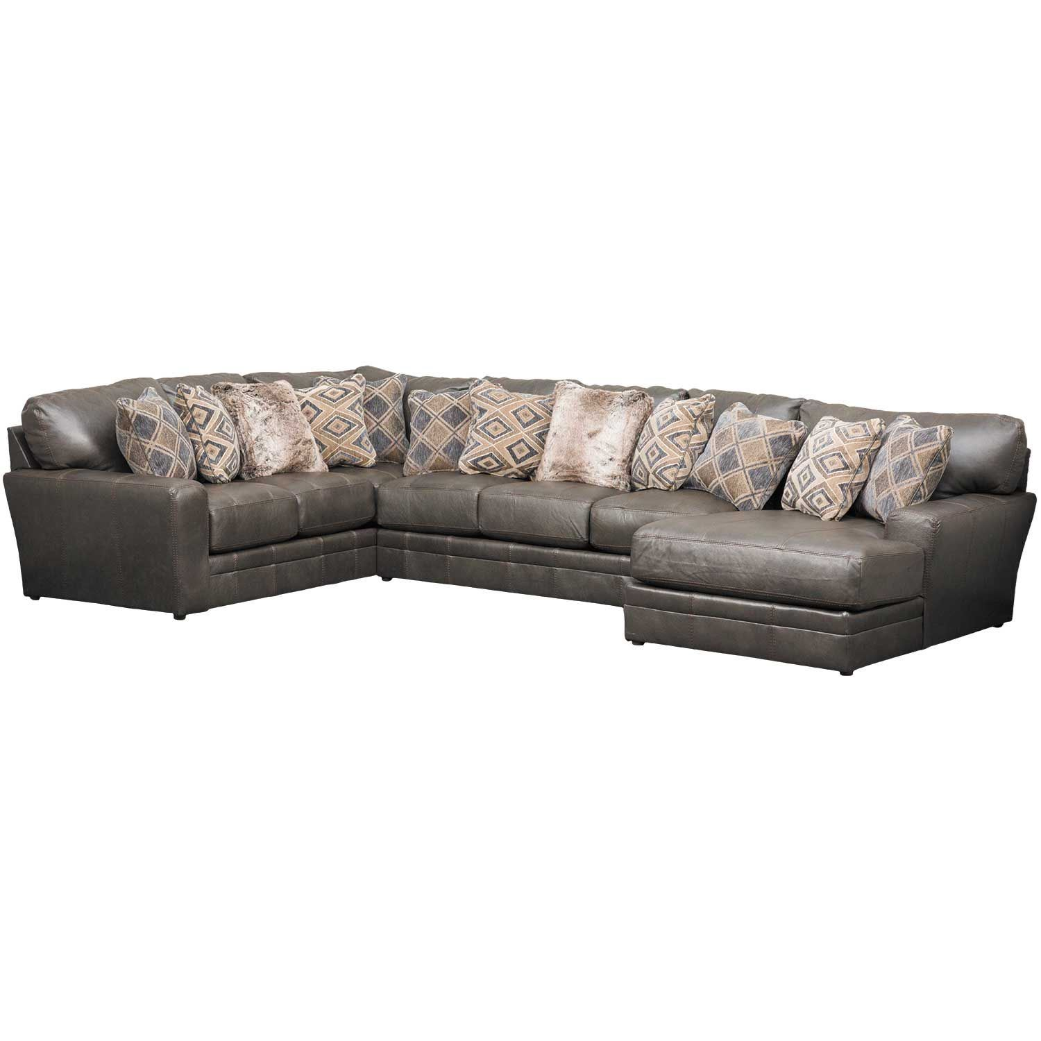 Denali 3 piece italian leather sectional with raf chaise for Chaise 3 pieds