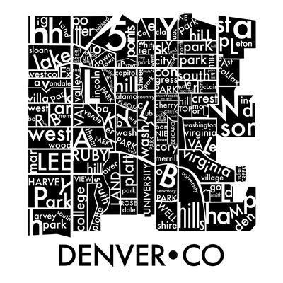 Denver Neighborhoods 36x36