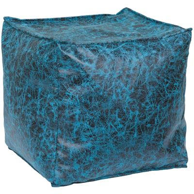 Picture of Blue Square Fabric Pouf-15x15x15
