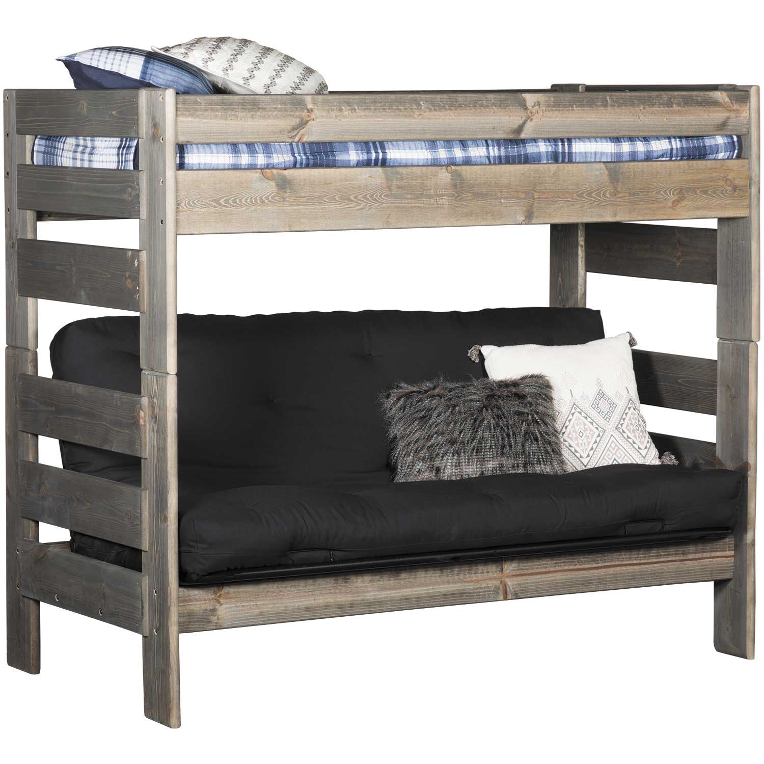 Cheyenne Driftwood Twin Over Twin Futon Bunk Bed Dw 4705