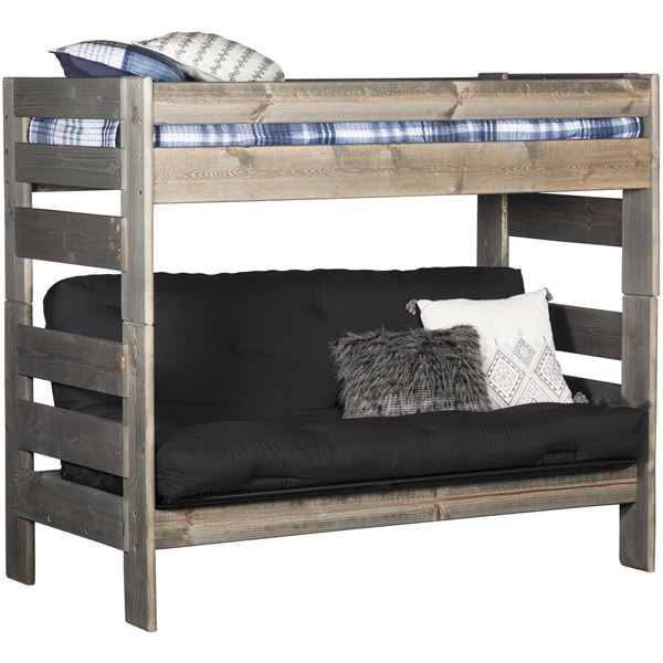 Cheyenne Driftwood Twin Over Twin Futon Bunk Bed