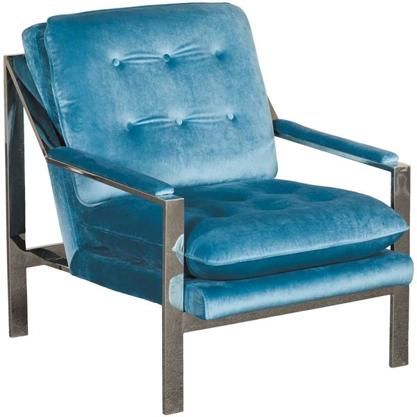 Colette Tufted Blue Chrome Chair