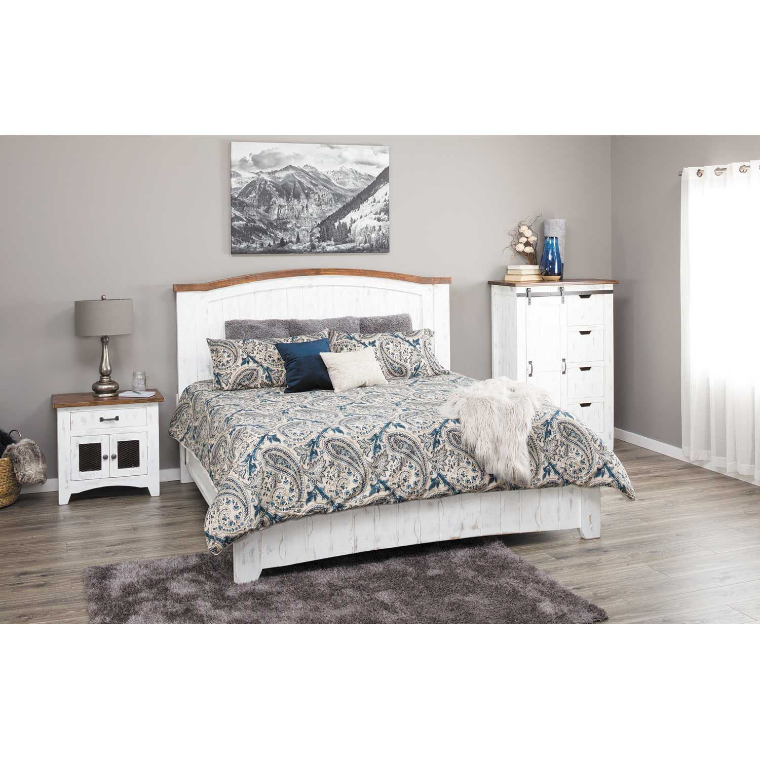 pueblo white 5 piece bedroom set ifd360q dsr mir ntst chest artisan home by ifd afw. Black Bedroom Furniture Sets. Home Design Ideas