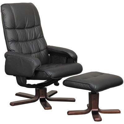 Picture of 2 Piece Black Recliner with Ottoman