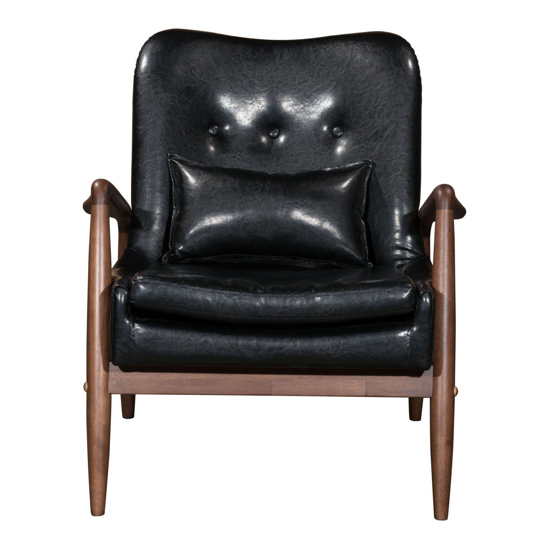 Bully Lounge Chair Ottoman Black 100534 Zuo Modern
