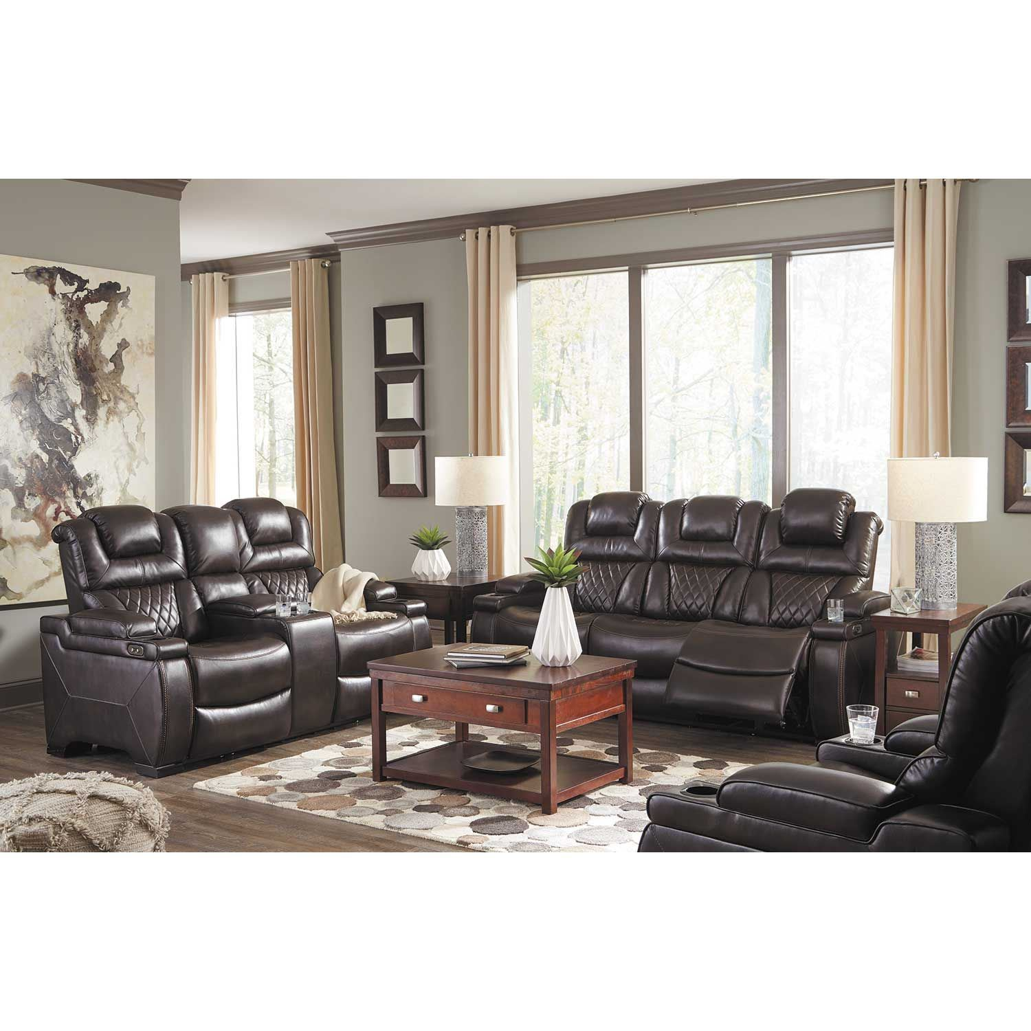 Warnerton Power Reclining Sofa With Drop Table