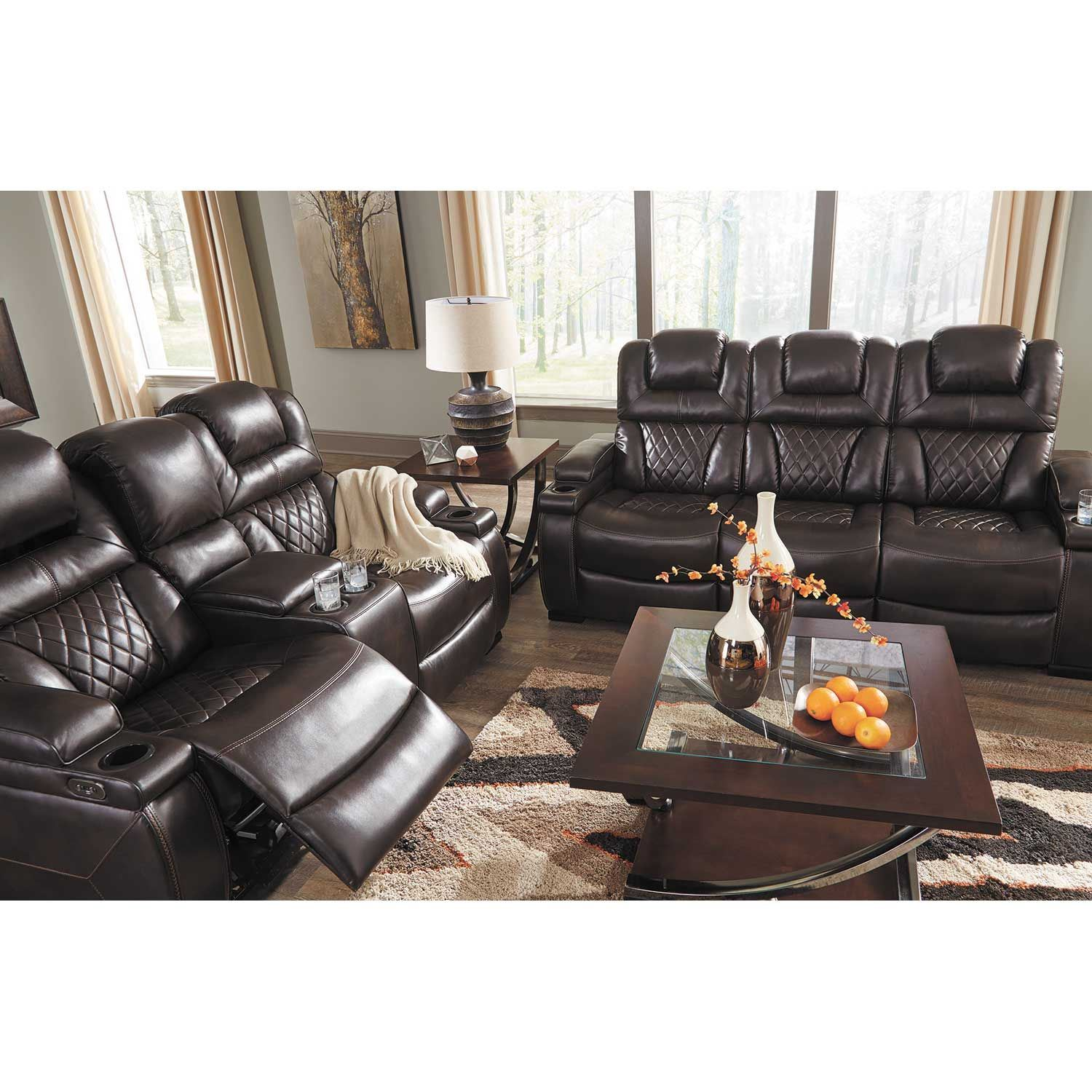 American Signature Furniture Commercial Gagging: Warnerton Power Reclining Sofa With Drop Table