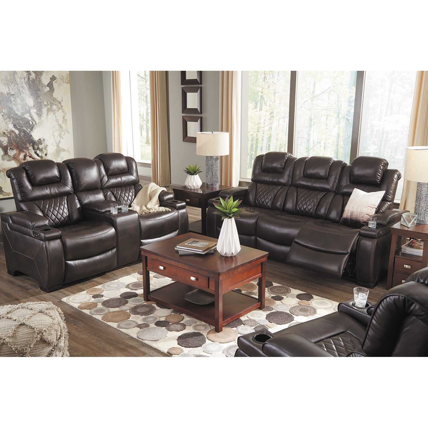 Ashley Furntiure: Warnerton Power Reclining Sofa With Drop Table