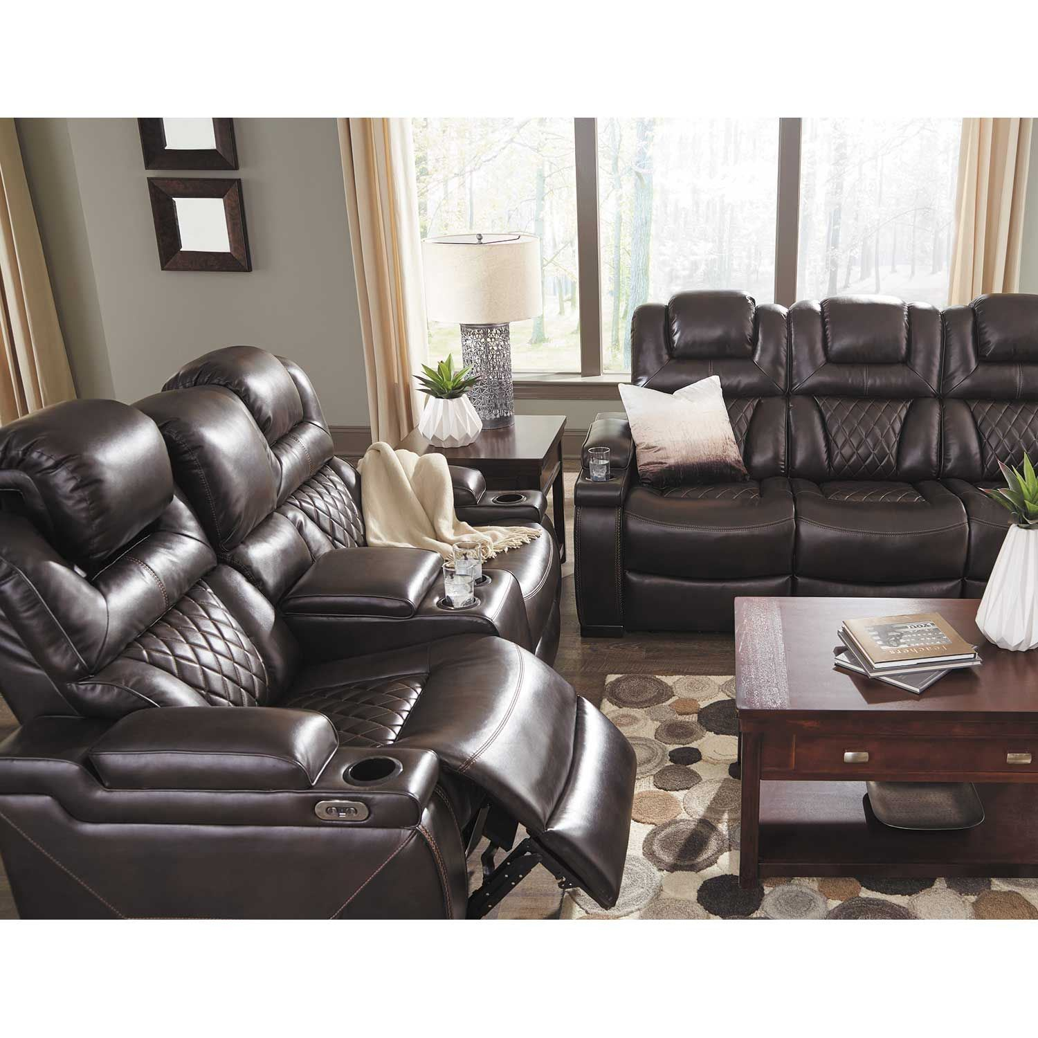 Ashley Furniture Manufacturing: Warnerton Power Reclining Console Loveseat With Adjustable