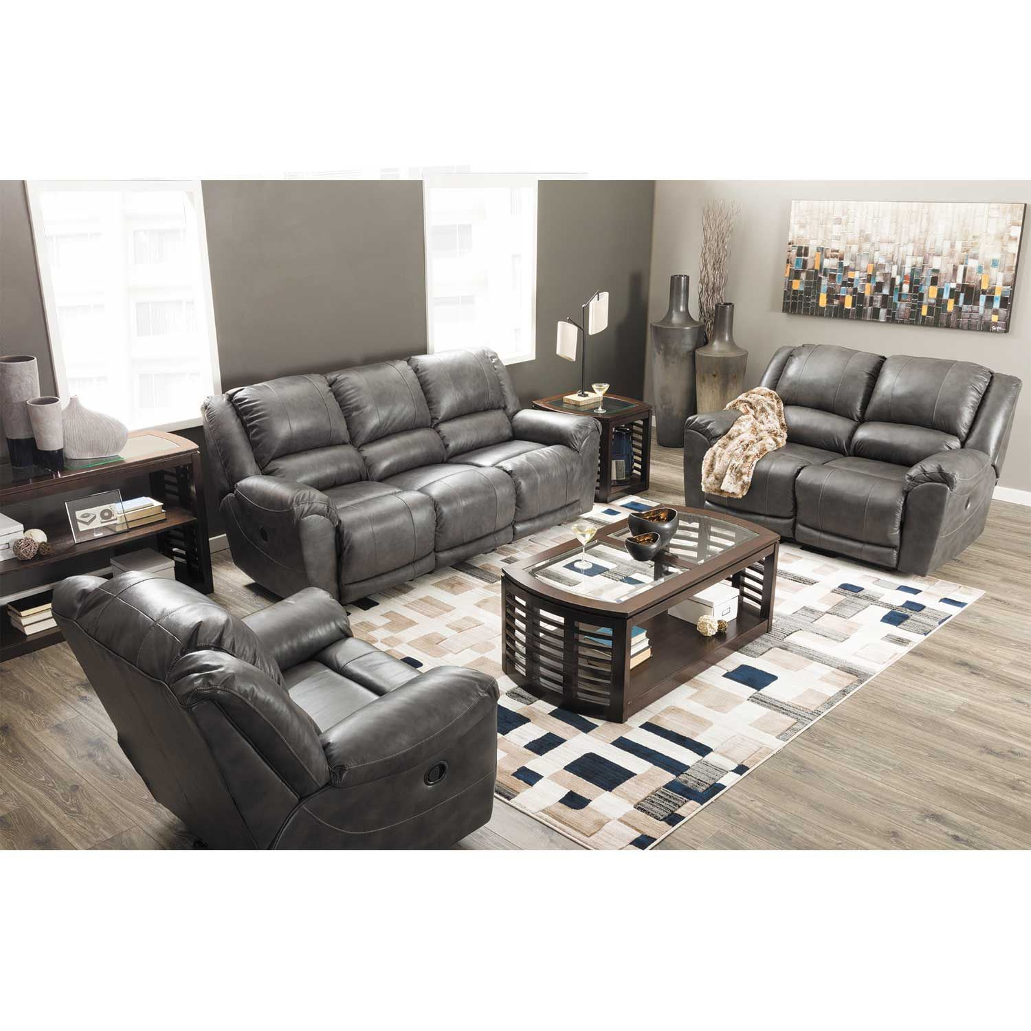 Persiphone Charcoal Leather Reclining Sofa 6070188