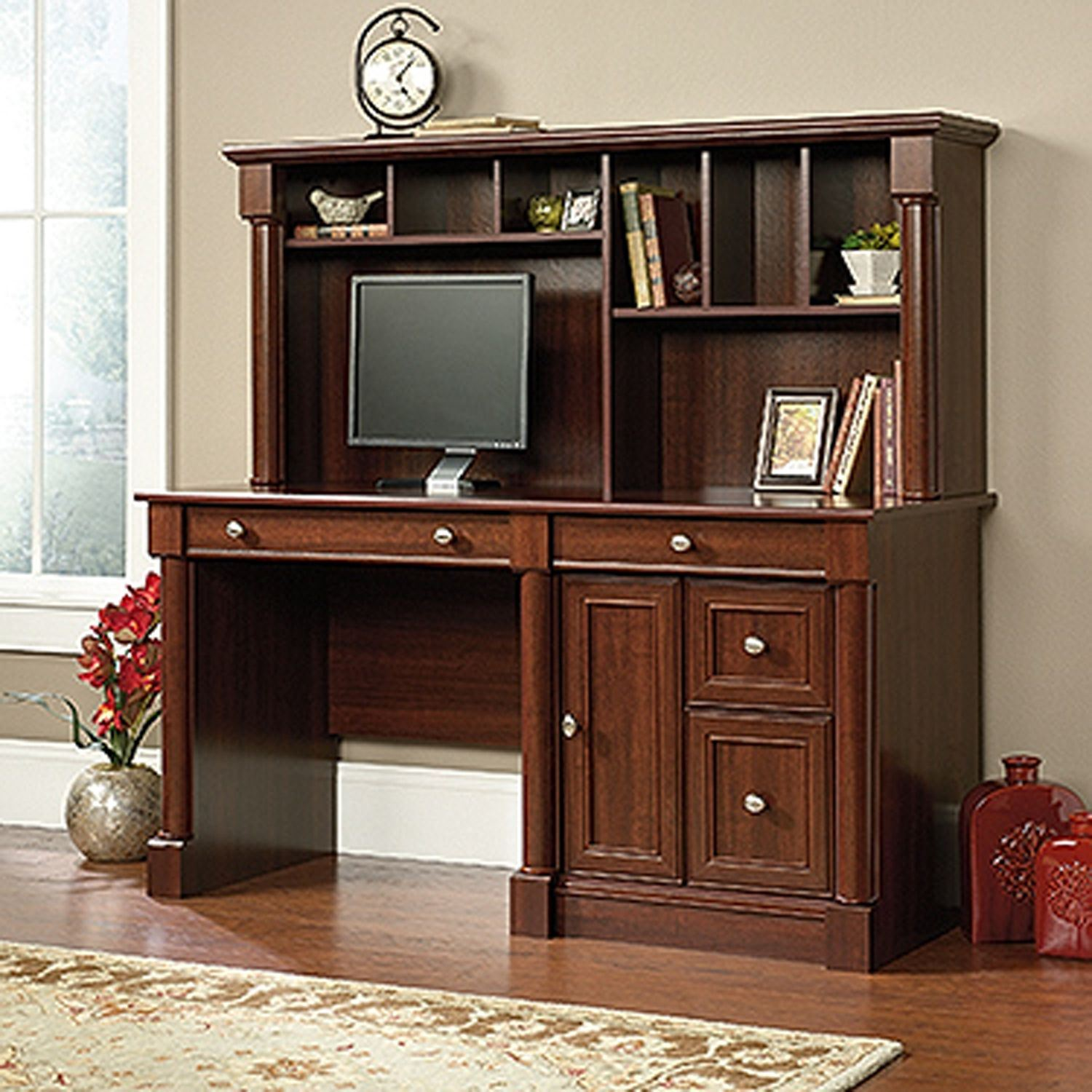 Picture Of Palladia Computer Desk And Hutch Select Cherry