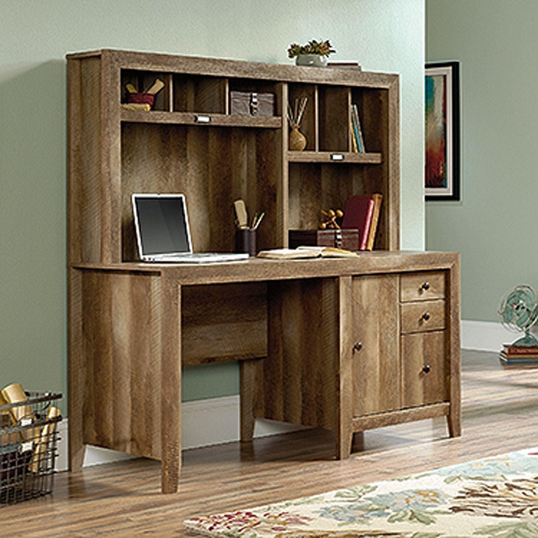 dakota pass computr desk w hutch craftsman oak 420410 sauder