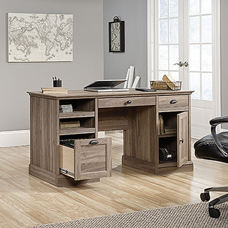 Rustic Americana Hardwood Executive Desk Home Office: Barrister Lane Executive Desk Salt Oak * D