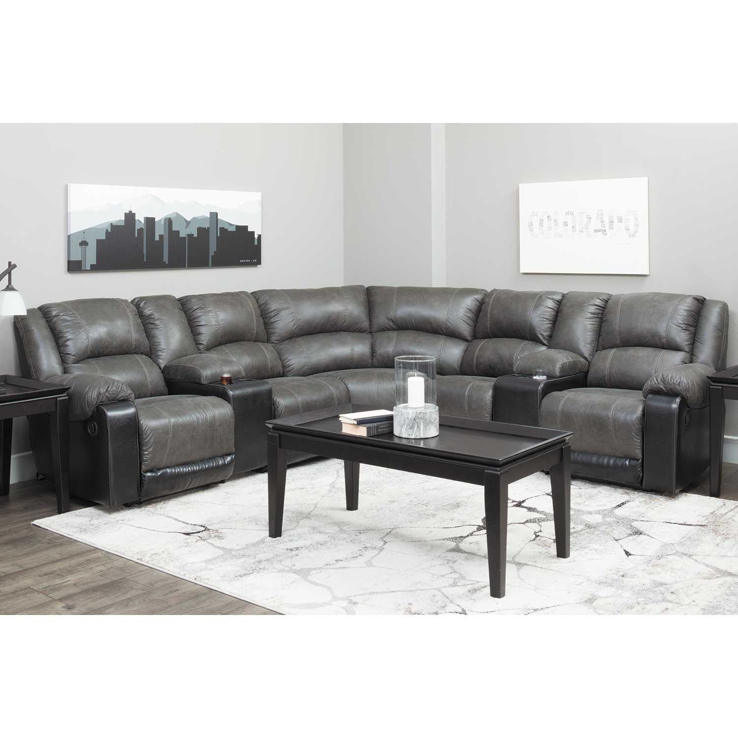 7PC Slate Reclining Sectional