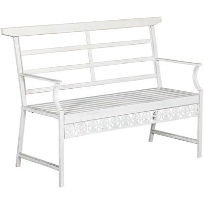 Picture of White Metal Sitting Bench