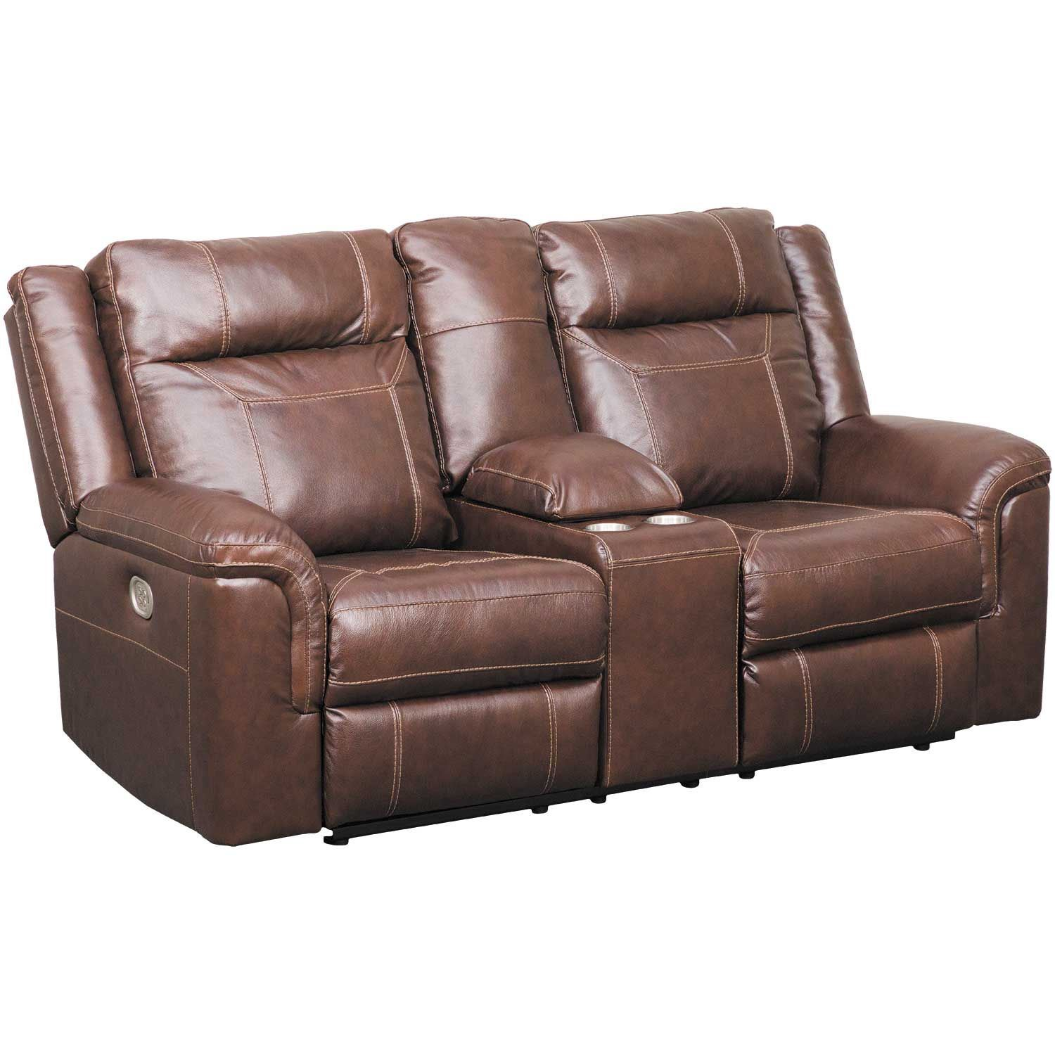 Wyline Leather Power Reclining Console Loveseat with Power ...