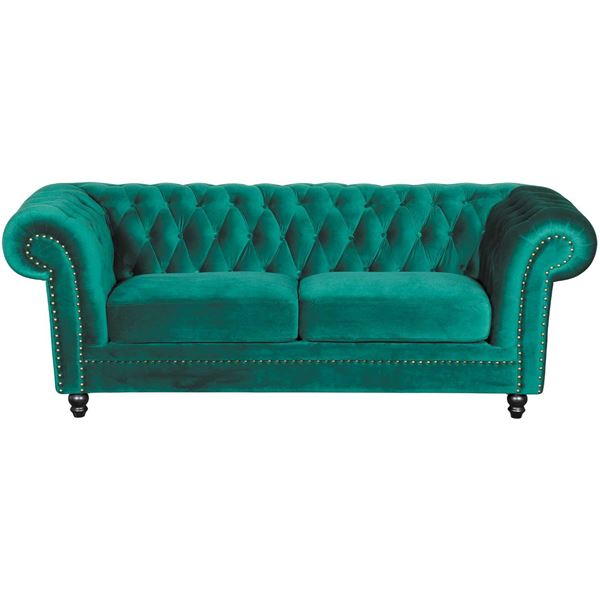 Callie Tufted Emerald Sofa