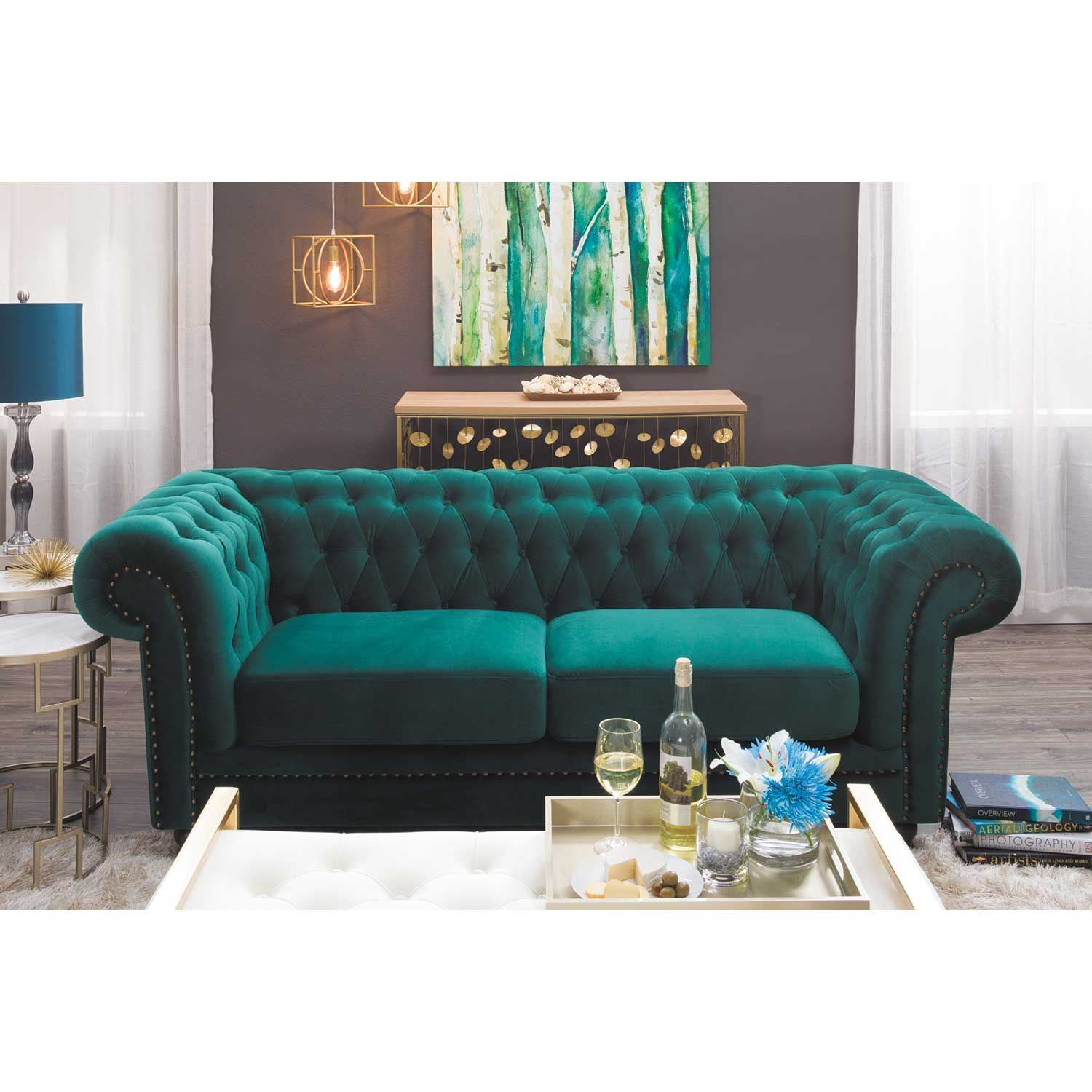 Picture Of Callie Tufted Emerald Loveseat