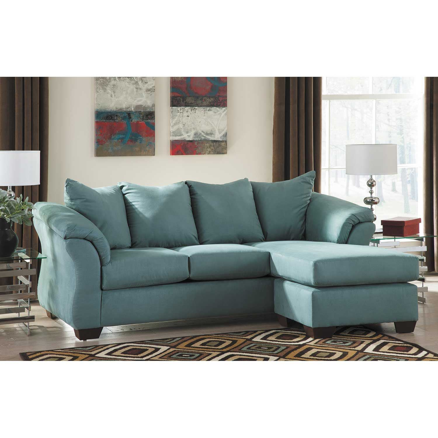 Blue reversible sofa chaise v5 750sc ashley furniture afw for How to rent furniture