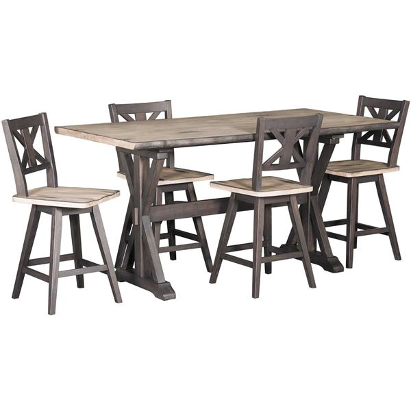 High Quality Picture Of Urban Farmhouse 5 Piece Counter Height Set