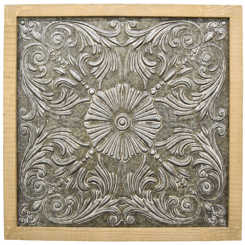 Wood Framed Metal Wall Decor 17073 Cp2 Three Hands
