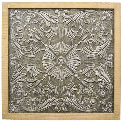 Imagen de Wood Framed Metal Wall Decor