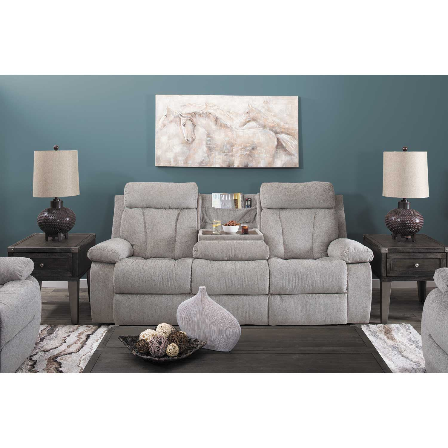 Loveseat Sofa Bed Ashley Furniture: Mitchiner Grey Reclining Console Loveseat