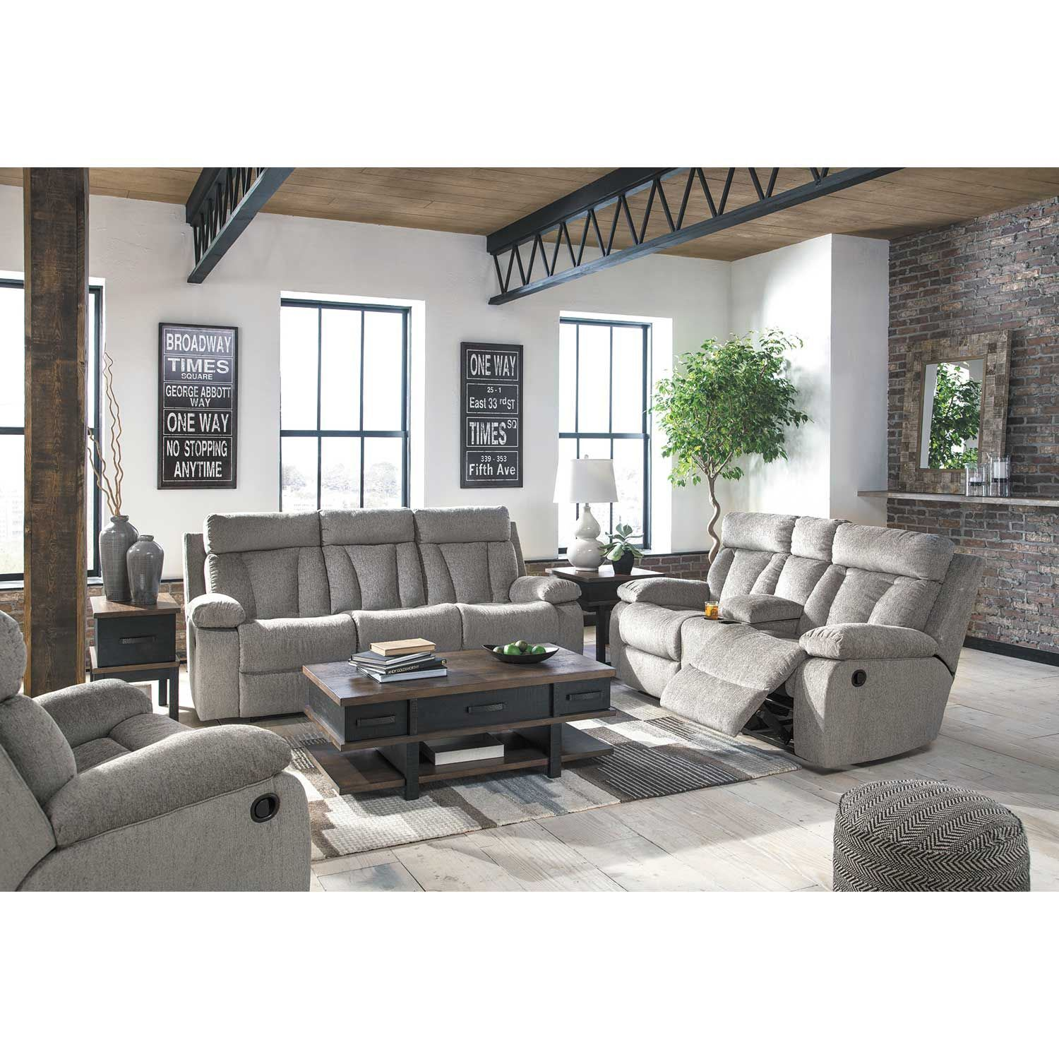 Living Room Sets Reclining: Mitchiner Grey Reclining Console Loveseat