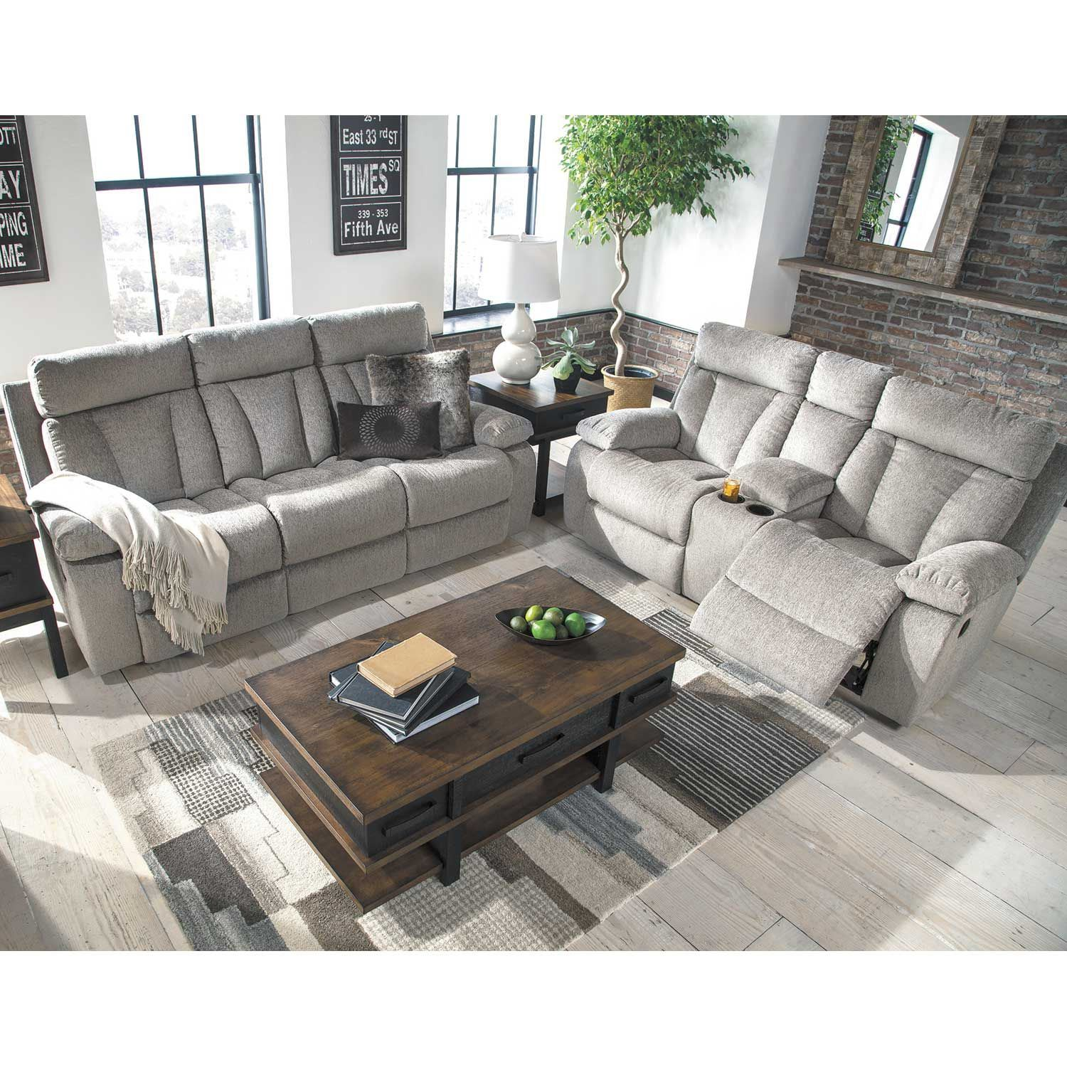 mitchiner grey reclining sofa with drop down table 7620489 ashley furniture afw. Black Bedroom Furniture Sets. Home Design Ideas
